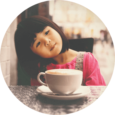 Miss Ko - Photograph of a little girl with a cup