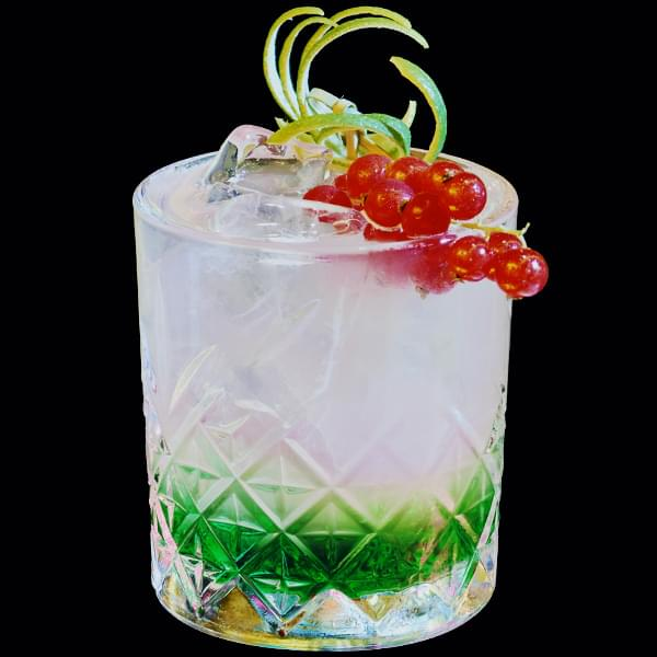 Miss Ko - Photograph of a red fruit cocktail in a tumbler glass with gooseberries