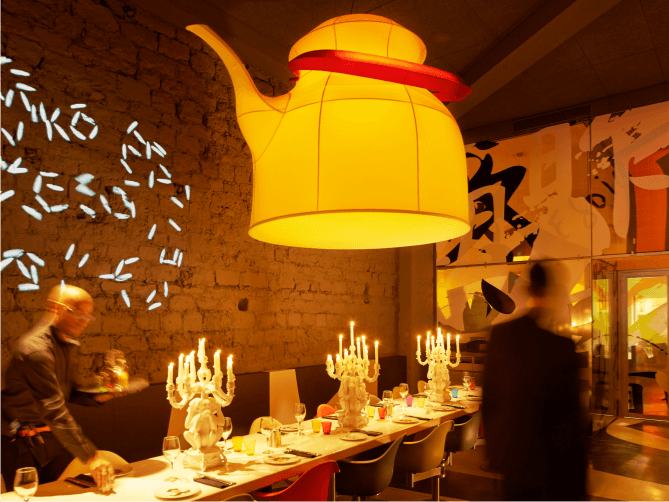 Miss Ko - Photograph of a Japanese inspired chandelier at the restaurant